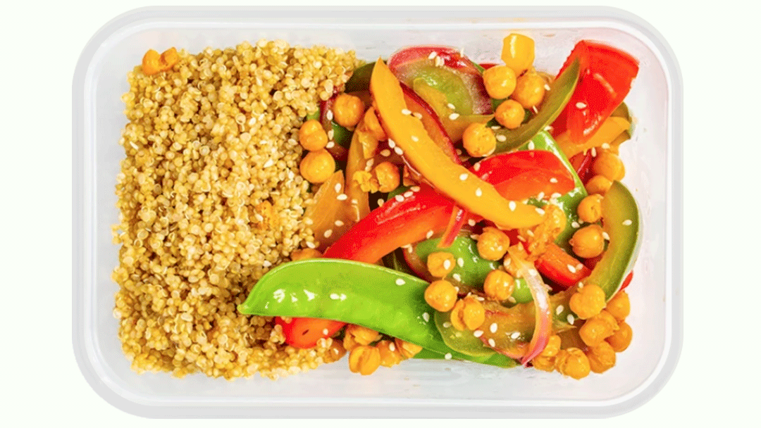 Sweet and Sour with Bell Peppers and Roasted Chickpeas