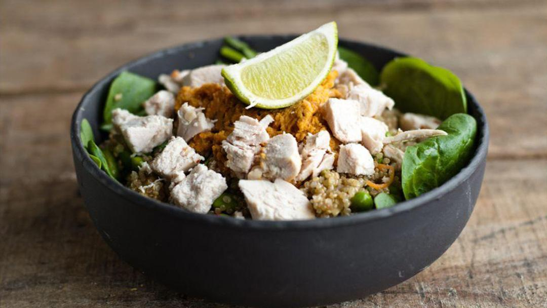 Chicken Quinoa Salad & Sundried Tomato Humus