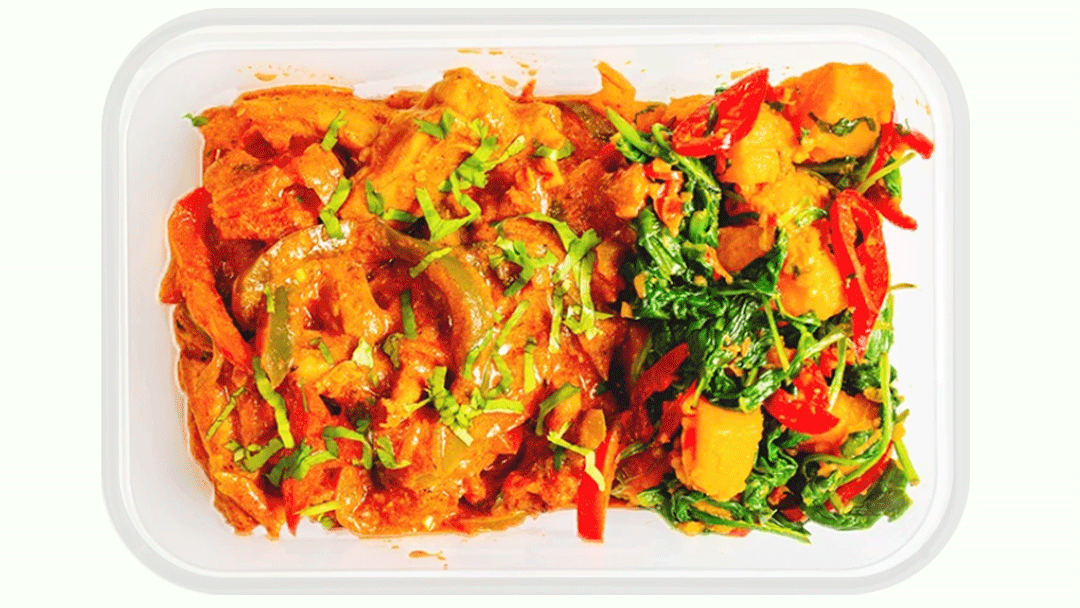 Chicken Thigh Jalfrezi, Sweet Potato Saag Aloo