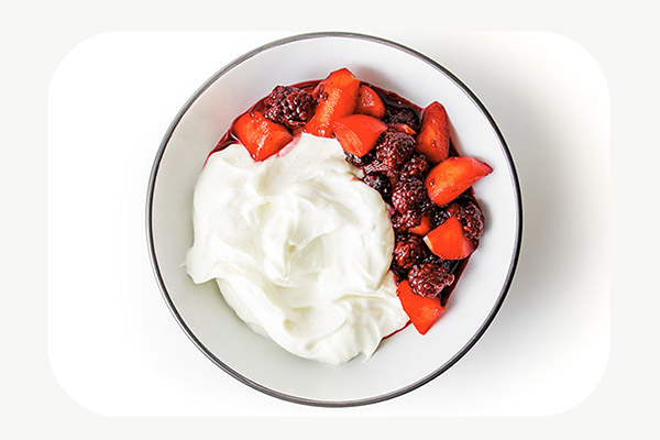 Greek Yoghurt with Apple and Blackberry Compote