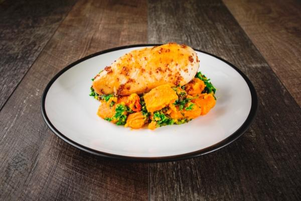Honey & Mustard Chicken With Sweet Potato & Kale Mash
