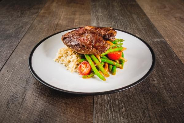 Roasted Lamb Leg, Bois Boudran with Green Beans and Tomato