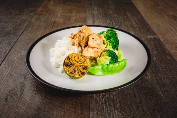 Satay Chicken Breast with Chipotle, Lime Greens and White Rice